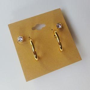 Small gold hoop earring set